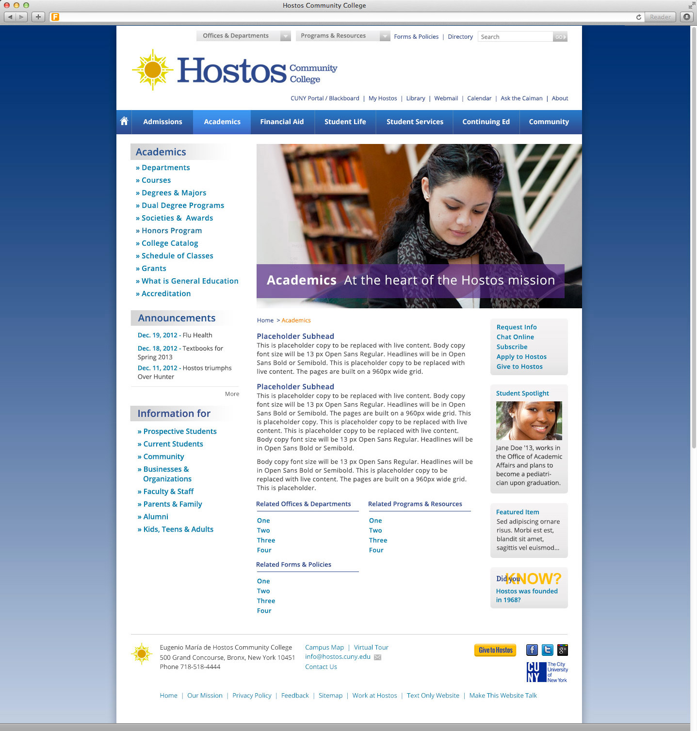 Hostos Campus Map.Foundry Hostos Website Foundry